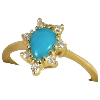 Halo Diamond / Turquoise (natural) Ring in 14kt