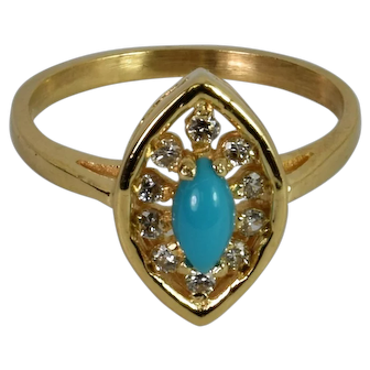 A stunning vintage Turquoise and Diamond ring
