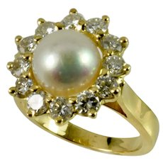 Custom-Made Pearl and Diamond Ring in 14k yellow gold by Thomas T.