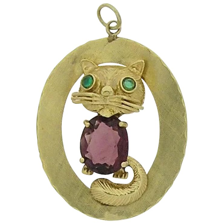 14k yellow gold cat pendant estate jewelry pre owned thomas t 14k yellow gold cat pendant estate jewelry pre owned aloadofball Gallery