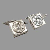 Vintage STERLING Silver CUFFLINKS Engraved Aztec Calendar Design 6.1 Grams
