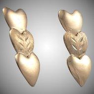 14K Yellow GOLD Triple 3 HEART Pierced Drop EARRINGS 0.6 Grams Estate
