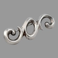 Vintage STERLING Silver Cast Scroll Pin Brooch Curlicue Scroll Design 10.7 Grams