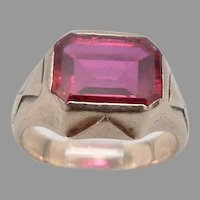Antique Edwardian 10K GOLD Lab Ruby Pinky RING 4.6 Grams Size 4.25 Victorian