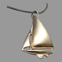 "Vintage 14K Yellow GOLD SAILBOAT Sail Boat CHARM 1"" Tall Pendant Fob 2.6 Grams"