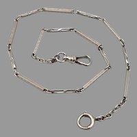Vintage Art Deco 14K White Gold Fancy Link Pocket Watch Chain 11g BINDER Bros.