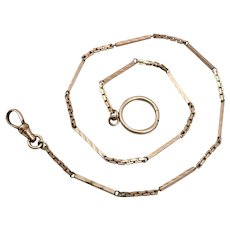 """(HO) Vintage SIMMONS Goldtone Pocket Watch Chain 16"""" Over the Button Design"""