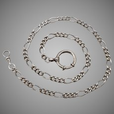 "Vintage STERLING Silver Pocket Watch Chain 17.75"" LONG 5.5mm Wide Figaro Link"