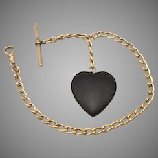 Vintage Pocket Watch Chain Large Black Stone Heart Fob Antique Goldtone 33.8g