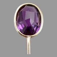 Vintage 14K Yellow GOLD Amethyst Stickpin Stick Pin Faceted on Both Sides 1.9g