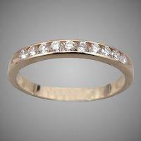 14K Yellow GOLD 10-Stone .30tcw DIAMOND Anniversary Stacking Band Ring 3g Size 9