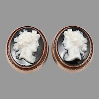 Antique Victorian 14K Rose GOLD Hardstone Cameo Collar Buttons Cufflinks 16.4g