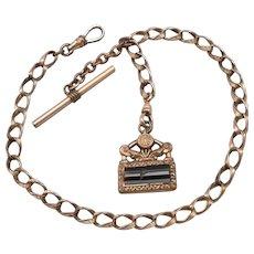 Antique Edwardian Gold Filled GF/RGP POCKET WATCH Chain Banded Agate Jasper FOB