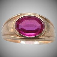 Vintage 10K Yellow GOLD LARTER RING Lab Ruby Gemstone 2.7 Grams Size 4 Pinky