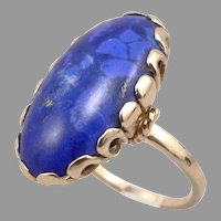 Vintage 18K Yellow GOLD 18.4ct Blue Lapis Lazuli Cabochon Ring 10.8g Size 9.25