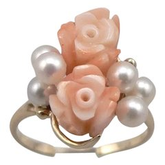 14K Yellow GOLD Hand Carved CORAL Rose Flower Cultured PEARL RING 3.7g Size 7