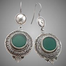 Vintage STERLING Silver Green Chrysoprase Pierced Dangle Earrings Handmade 15.2g