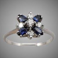 Vintage 14K White GOLD .64tcw Blue Sapphire .25tcw Diamond RING 2.5g Sz9 Floral