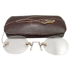f80793243f6 Antique Victorian PINCE NEZ EYEGLASSES Rimless Spectacles Eye Glasses Chain  Case