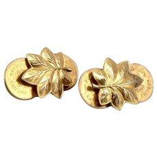 Vintage WWII 10K GOLD US Army Military MAJOR Oak Leaf Collar Rank Insignia Pins