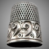 Antique Silver SEWING THIMBLE Gold Wash on Scroll Design 6.6g SIMMONS Size 11