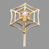 Vintage 10K Yellow GOLD Diamond SPIDERWEB Stickpin Stick Pin Ostby & Barton 1.1g