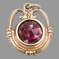 Antique Victorian Gold Filled GF/RGP Double Sided Glass Jewel FOB Pendant Charm