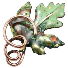 Vintage Matisse RENOIR Enamel Copper Brooch Pin Figural Green Leaf Estate