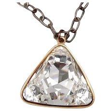 TERU AMARO Large Triangle Cut Clear Rhinestone Pendant Necklace Goldtone 15.8g