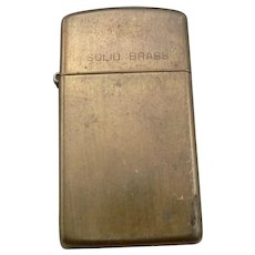 "Vintage SOLID BRASS ZIPPO Pocket Lighter 2 3/16"" Tall Dated 1932 1986"