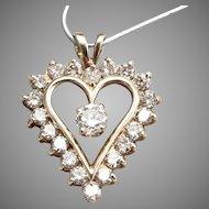 10K Yellow GOLD 2.22tcw DIAMOND Open Heart Large Pendant 4 Grams Vintage Estate