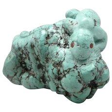ZUNI Brian Yatsattie Carved TURQUOISE Nugget Hand Carved Lizard Sculpture Fetish