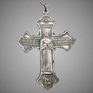 Vintage Saint Anthony St. Francis Large CROSS Religious Medal Pendant Silvertone