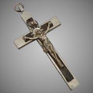 """Antique CRUCIFIX Pectoral CROSS FRANCE 2.75"""" Pendant Silvertone & Wood Vintage"""