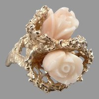 Vintage 14K Yellow GOLD Hand Carved CORAL Rose Flower RING 13 Grams! Size 5.5