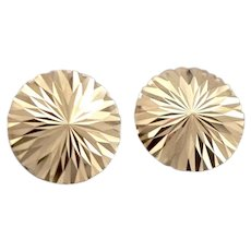 Vintage 18K Yellow Gold Bright Cut Round Pierced Stud EARRINGS 1.3 Grams Estate