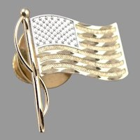 Vintage 14K Yellow GOLD USA FLAG Lapel Pin Brooch God Bless America 1.2 Grams