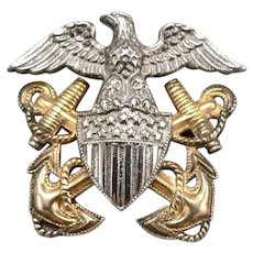 Vintage WWII Sterling Silver US NAVY Naval Insignia Pin Eagle Shield Badge GF
