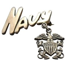Vintage WWII Sterling Silver US NAVY Naval Sweetheart Pin Eagle Gold Filled