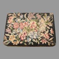 Vintage Fine Floral PETIT POINT Leather Cigarette Holder Credit Card Case Wallet