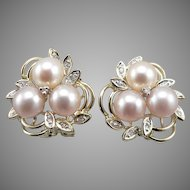 14K Yellow GOLD 3 Pink Cultured PEARL Diamond Omega Back Clip On EARRINGS 7.5g