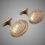 Antique Edwardian 14K Yellow GOLD Greek Key Oval CUFFLINKS 'WAL' Mono 4.1 Grams
