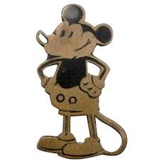 Vintage c1930's Early Disney MICKEY MOUSE Pin Brooch Black Enamel Brass
