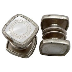 b2f976187803 Vintage Men's Silvertone Mother of Pearl SNAP LINK Cufflinks Cuff Button MOP