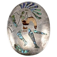 Vintage Mexico Sterling Silver Pin Brooch Pendant Aztec Warrior Inlaid Abalone