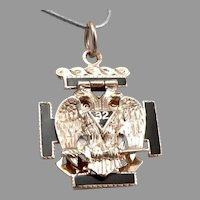 Vintage MASONIC 32nd Degree Double Eagle 10K Gold Enamel Pendant Fob Charm 7.3g