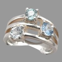 Vintage STERLING Silver Blue Topaz Zircon 3-Stone RING Band 7.5 Grams Size 7.75