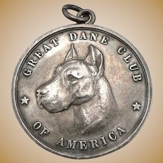 c1906 Antique STERLING Silver Great Dane Club of America First Place MEDAL NY