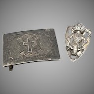 Vintage KNIGHTS TEMPLAR Belt Buckle and Slide Shield Cross Masonic Silvertone