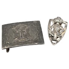 Vintage KNIGHTS TEMPLAR Belt Buckle and Slide Shield Cross Masonic Silvertone